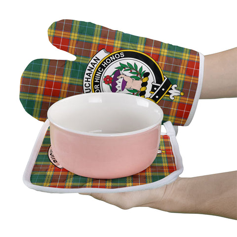 Buchanan Old Sett Clan Crest Tartan Scotland Oven Mitt And Pot-Holder (Set Of Two)