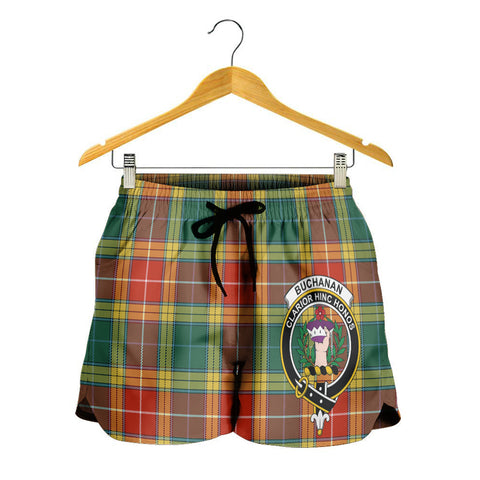 Buchanan Old Sett Crest Tartan Shorts For Women K7