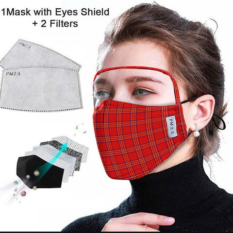 Burnett Modern Tartan Face Mask With Eyes Shield - Red  Plaid Mask TH8