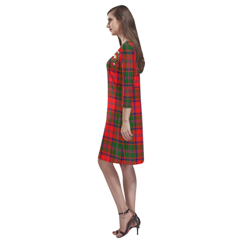 Tartan dresses - Stewart of Appin Modern Tartan Dress - Round Neck Dress Clan Badge TH8