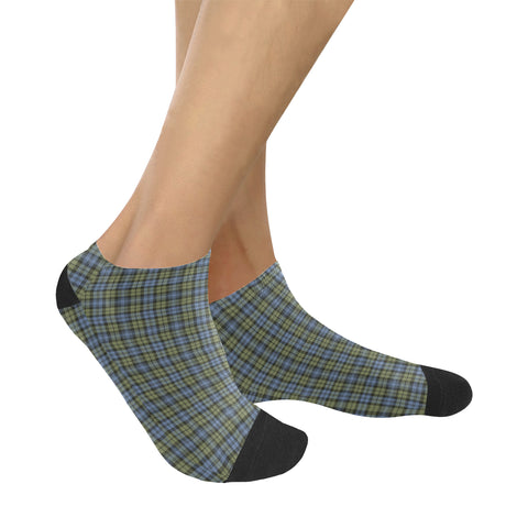 Campbell Faded Tartan Ankle Socks K7