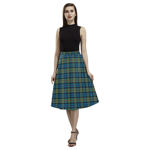 Image of Colquhoun Ancient  Tartan Aoede Crepe Skirt | Exclusive Over 500 Tartan