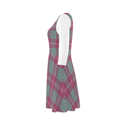 Crawford Ancient Tartan 3/4 Sleeve Sundress | Exclusive Over 500 Clans