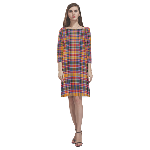 Jacobite Tartan Dress - Rhea Loose Round Neck Dress TH8