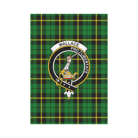 Wallace Hunting - Green Tartan Flag Clan Badge | Scottishclans.co