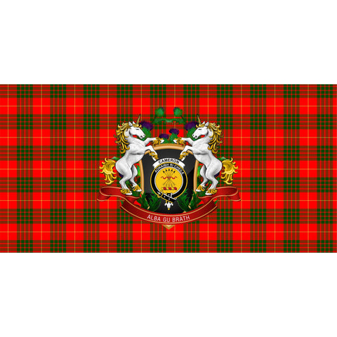 Image of Cameron Modern Crest Tartan Tablecloth Unicorn Thistle A30