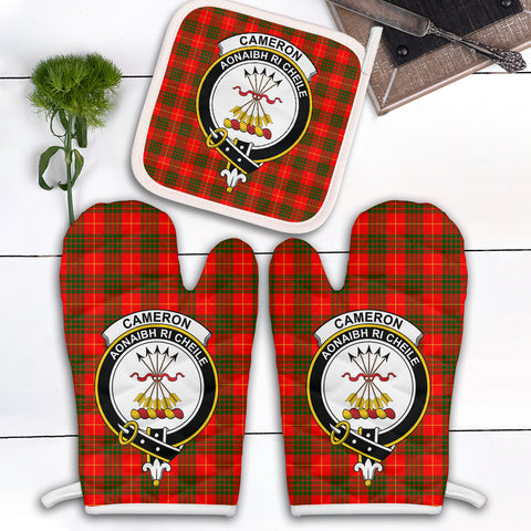 Image of Cameron Modern Clan Crest Tartan Scotland Oven Mitt And Pot-Holder (Set Of Two)