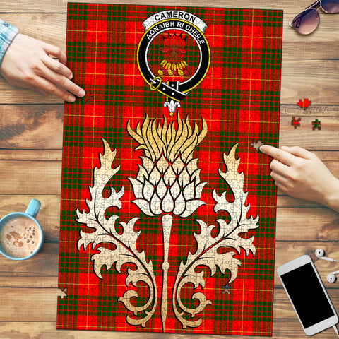 Image of Cameron Modern Clan Crest Tartan Thistle Gold Jigsaw Puzzle