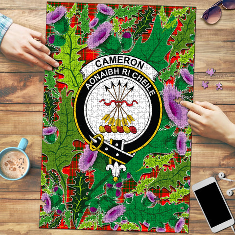 Image of Cameron Modern Clan Crest Tartan Thistle Pattern Scotland Jigsaw Puzzle