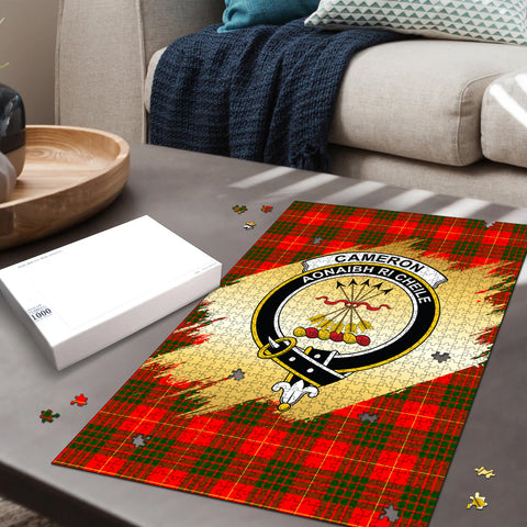 Image of Cameron Modern Clan Crest Tartan Jigsaw Puzzle Gold