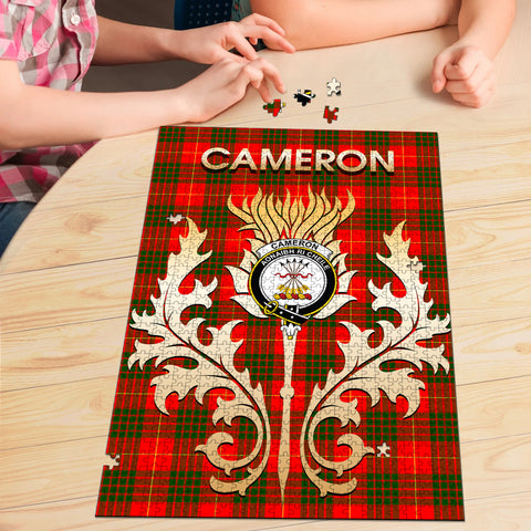 Image of Cameron Modern Clan Name Crest Tartan Thistle Scotland Jigsaw Puzzle