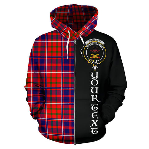 (Custom your text) Cameron of Lochiel Modern Tartan Hoodie Half Of Me TH8