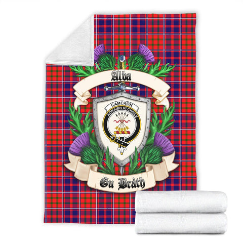 Cameron of Lochiel Modern Crest Tartan Blanket Thistle  | Tartan Home Decor | Scottish Clan