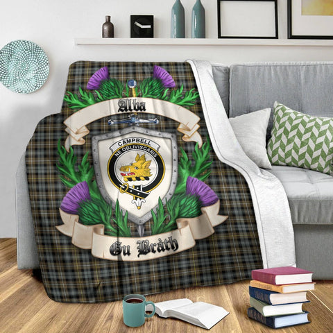 Campbell Argyll Weathered Crest Tartan Blanket Thistle  | Tartan Home Decor | Scottish Clan