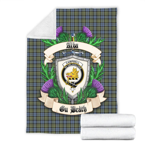 Campbell Faded Crest Tartan Blanket Thistle  | Tartan Home Decor | Scottish Clan