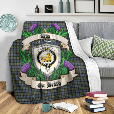 Image of Campbell Faded Crest Tartan Blanket Thistle  | Tartan Home Decor | Scottish Clan