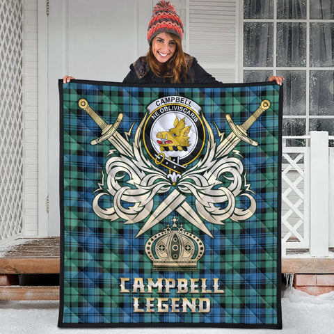 Campbell Ancient 01 Clan Crest Tartan Scotland Clan Legend Gold Royal Premium Quilt