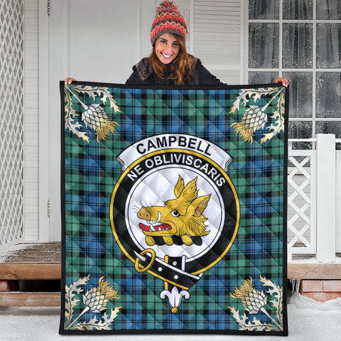 Campbell Ancient 01 Clan Crest Tartan Scotland Thistle Gold Pattern Premium Quilt