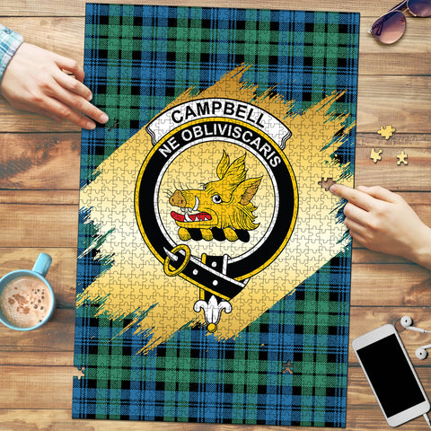Campbell Ancient 01 Clan Crest Tartan Jigsaw Puzzle Gold