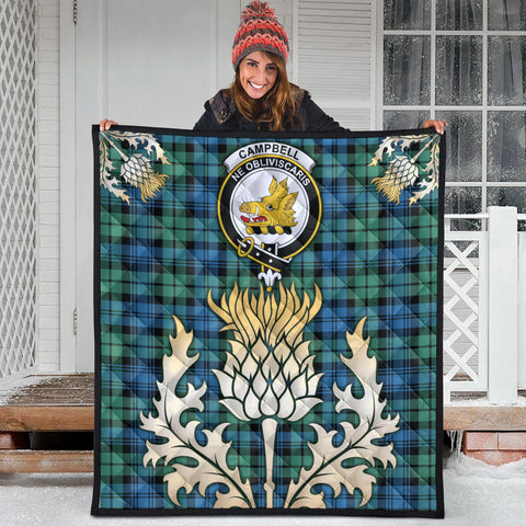 Campbell Ancient 01 Clan Crest Tartan Scotland Thistle Gold Royal Premium Quilt