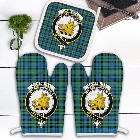 Campbell Ancient 01 Clan Crest Tartan Scotland Oven Mitt And Pot-Holder (Set Of Two)