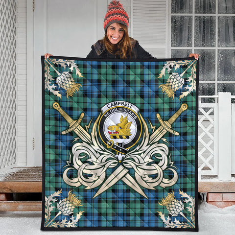 Campbell Ancient 01 Clan Crest Tartan Scotland Thistle Symbol Gold Royal Premium Quilt