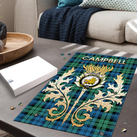 Campbell Ancient 01 Clan Name Crest Tartan Thistle Scotland Jigsaw Puzzle