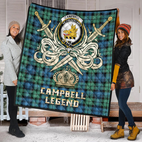 Campbell Ancient 01 Clan Crest Tartan Scotland Clan Legend Gold Royal Premium Quilt K9