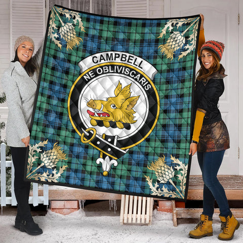 Campbell Ancient 01 Clan Crest Tartan Scotland Thistle Gold Pattern Premium Quilt K9