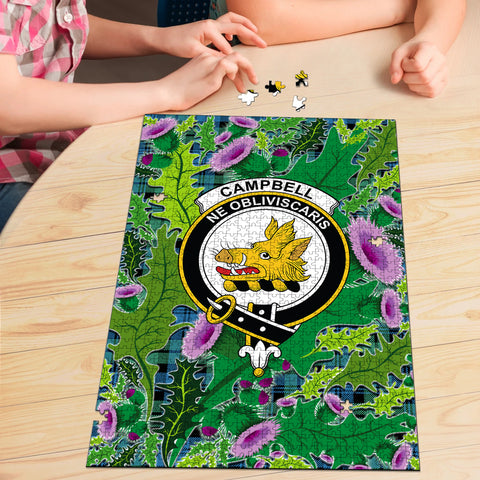 Campbell Ancient 01 Clan Crest Tartan Thistle Pattern Scotland Jigsaw Puzzle