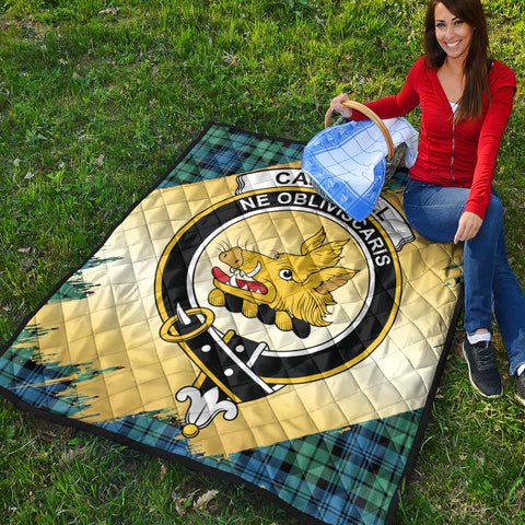 Campbell Ancient 01 Clan Crest Tartan Scotland Gold Royal Premium Quilt K9