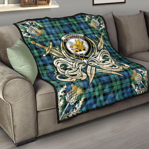 Campbell Ancient 01 Clan Crest Tartan Scotland Thistle Symbol Gold Royal Premium Quilt K9