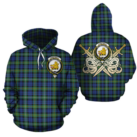 Campbell Argyll Ancient Clan Crest Tartan Scottish Gold Thistle Hoodie