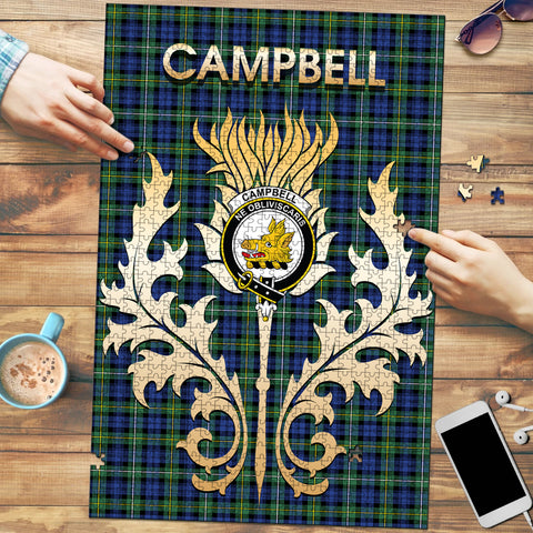 Campbell Argyll Ancient Clan Name Crest Tartan Thistle Scotland Jigsaw Puzzle