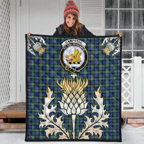 Campbell Argyll Ancient Clan Crest Tartan Scotland Thistle Gold Royal Premium Quilt