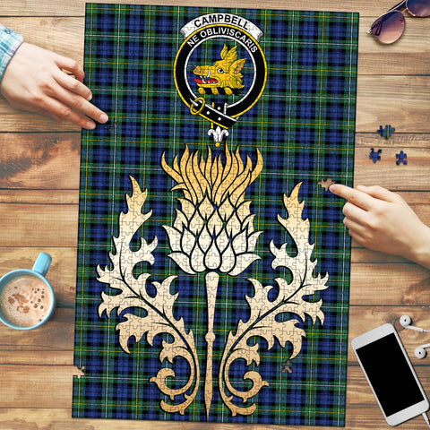 Campbell Argyll Ancient Clan Crest Tartan Thistle Gold Jigsaw Puzzle