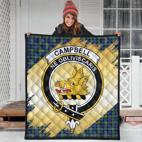 Campbell Argyll Ancient Clan Crest Tartan Scotland Gold Royal Premium Quilt
