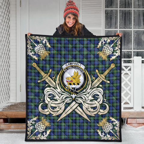 Campbell Argyll Ancient Clan Crest Tartan Scotland Thistle Symbol Gold Royal Premium Quilt