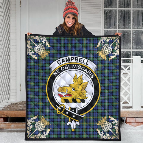 Campbell Argyll Ancient Clan Crest Tartan Scotland Thistle Gold Pattern Premium Quilt