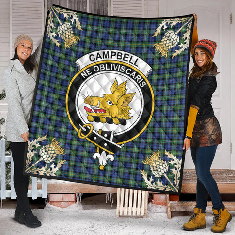Campbell Argyll Ancient Clan Crest Tartan Scotland Thistle Gold Pattern Premium Quilt K9