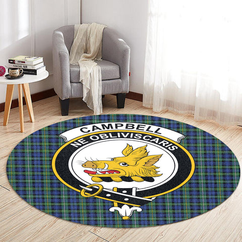 Image of Campbell Argyll Ancient Clan Crest Tartan Round Rug