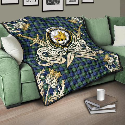 Campbell Argyll Ancient Clan Crest Tartan Scotland Thistle Symbol Gold Royal Premium Quilt K9