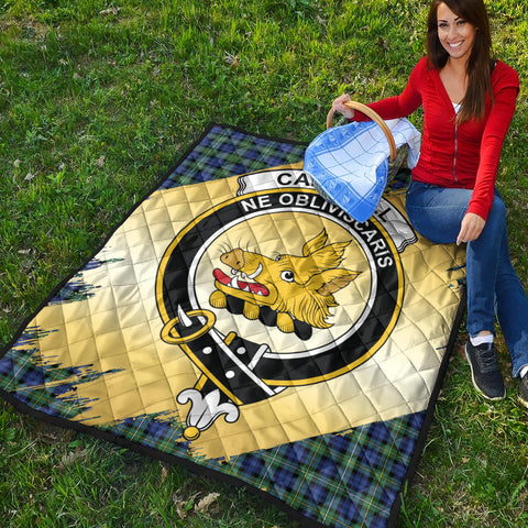 Campbell Argyll Ancient Clan Crest Tartan Scotland Gold Royal Premium Quilt K9