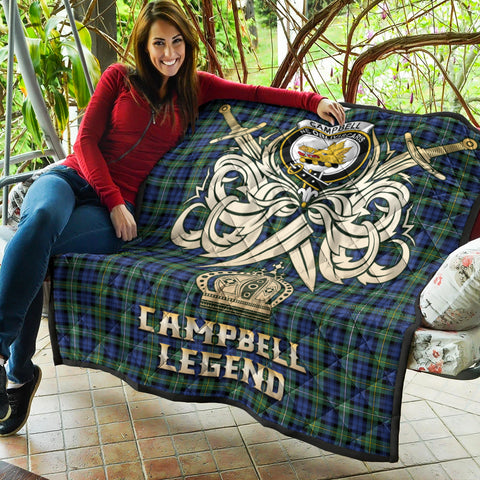 Campbell Argyll Ancient Clan Crest Tartan Scotland Clan Legend Gold Royal Premium Quilt K9