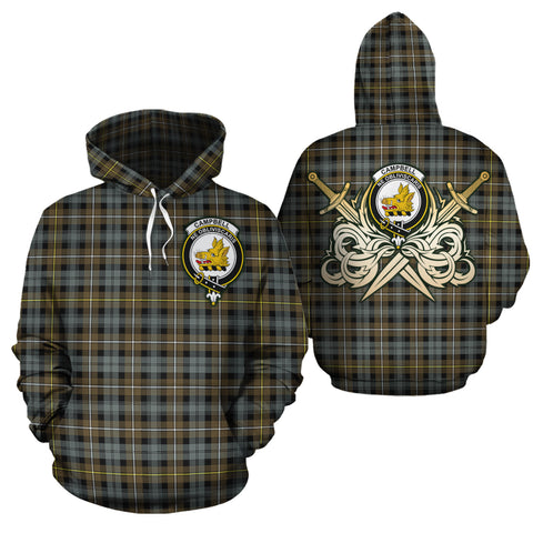 Campbell Argyll Weathered Clan Crest Tartan Scottish Gold Thistle Hoodie