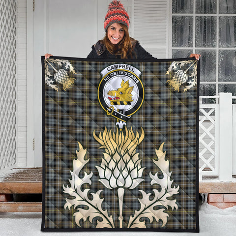 Campbell Argyll Weathered Clan Crest Tartan Scotland Thistle Gold Royal Premium Quilt