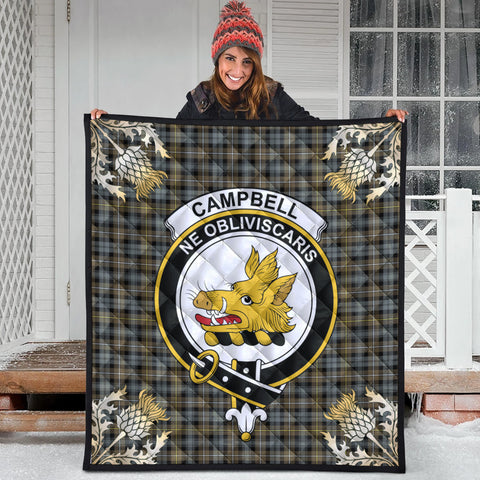 Campbell Argyll Weathered Clan Crest Tartan Scotland Thistle Gold Pattern Premium Quilt