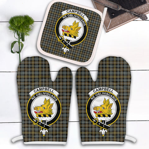 Campbell Argyll Weathered Clan Crest Tartan Scotland Oven Mitt And Pot-Holder (Set Of Two)