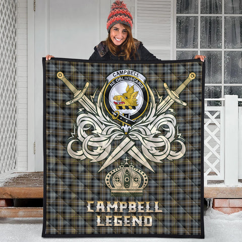 Campbell Argyll Weathered Clan Crest Tartan Scotland Clan Legend Gold Royal Premium Quilt