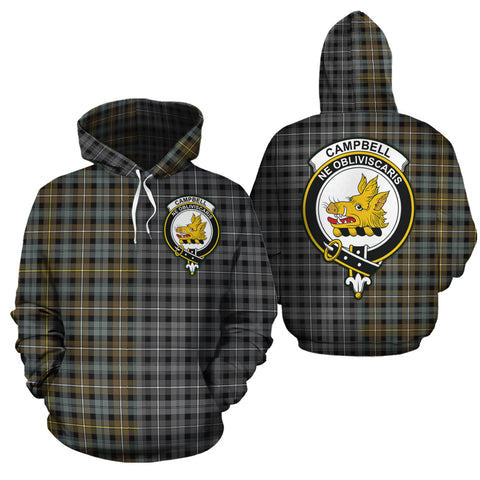 Campbell Argyll Weathered Clan Half Of Me New Version Crest Tartan Hoodie
